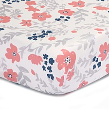 Coral & Navy Floral Print Cotton Fitted Crib Sheet