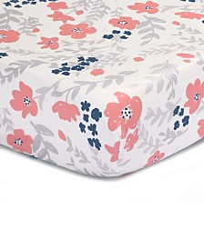 The Peanutshell Coral & Navy Floral Print Cotton Fitted Crib Sheet