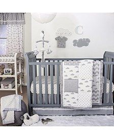 The Peanutshell Grey Patchy Cloud Crib 4-Piece Crib Set