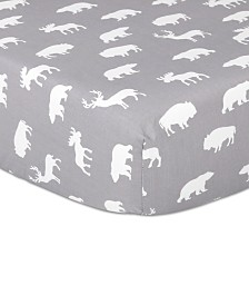 The Peanutshell Woodland Silhouette Fitted Crib Sheet
