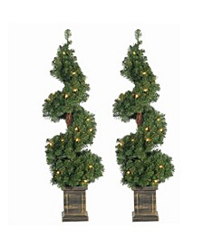 3.5Ft. Pre-Lit Potted Spiral Trees - Set of 2
