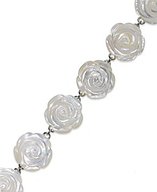 Sterling Silver Bracelet, Mother of Pearl Flower Bracelet