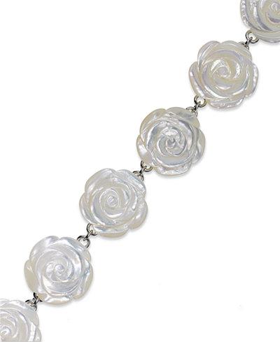 Sterling Silver Bracelet, Mother of Pearl Flower Bracelet