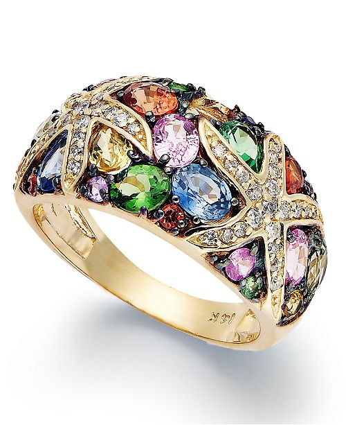 EFFY Collection Watercolors by EFFY Multistone and Diamond Starfish Ring (3-1/2 ct. t.w.) in 14k Gold