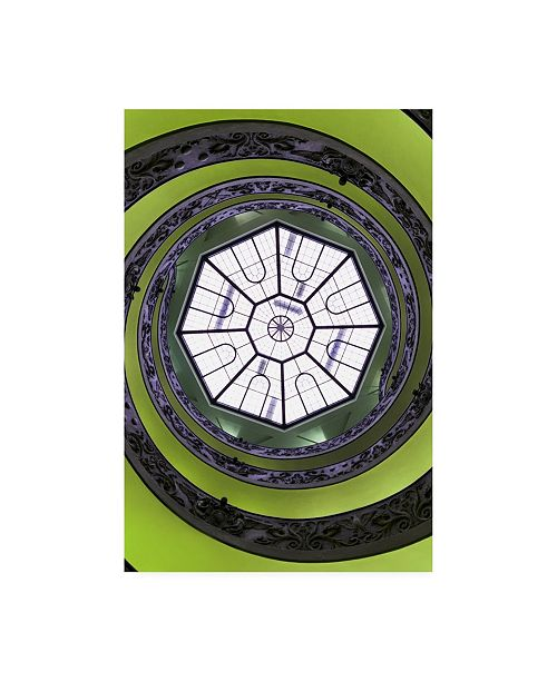 "Trademark Global Philippe Hugonnard Dolce Vita Rome the Vatican Spiral Staircase Lime Green II Canvas Art - 27"" x 33.5"""