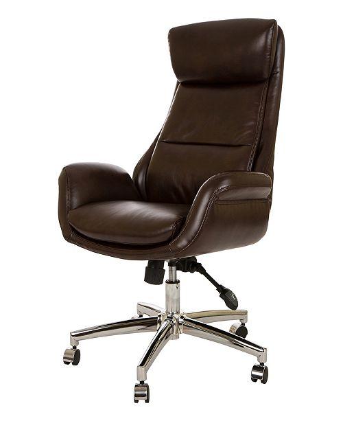 Mid-Century Modern Bonded Leather Gaslift Adjustable Swivel Office Chair