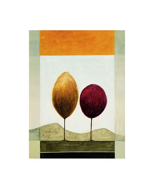 """Trademark Global Pablo Esteban Red and Orange Trees and Mountains Canvas Art - 19.5"""" x 26"""""""