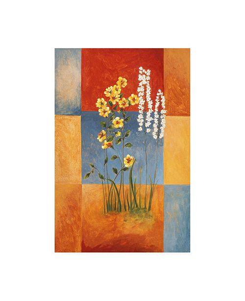"Trademark Global Pablo Esteban Yellow and White Flowers on Squares Canvas Art - 36.5"" x 48"""