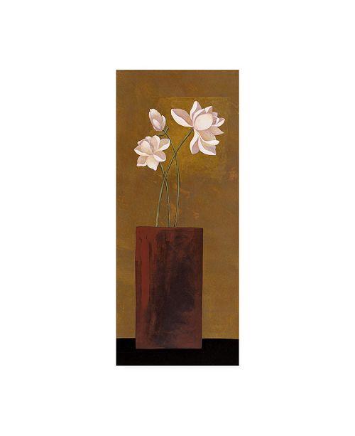 "Trademark Global Pablo Esteban White Flowers in Red Vase Canvas Art - 15.5"" x 21"""