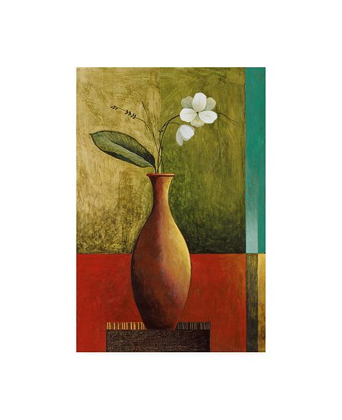 "Trademark Global Pablo Esteban Flower in Orange Vase Canvas Art - 19.5"" x 26"""