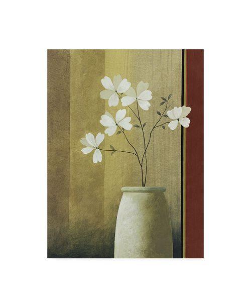 "Trademark Global Pablo Esteban White Flowers in Beige Vase Canvas Art - 19.5"" x 26"""
