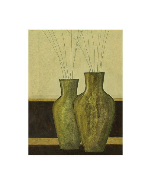 "Trademark Global Pablo Esteban Two Green Vases Canvas Art - 19.5"" x 26"""