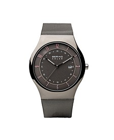 Men's, Slim Solar Stainless Case and Mesh Watch