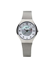 Ladies' Slim Solar Stainles Steel Mesh Watch