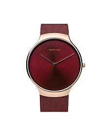 Bering Men's Charity Stainless Steel Case and Mesh Watch