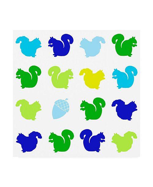 "Trademark Global Chariklia Zarris Animal Sudoku in Blue VI Childrens Art Canvas Art - 36.5"" x 48"""