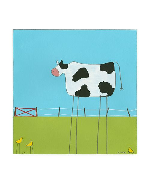 "Trademark Global June Erica Vess Stick leg Cow II Childrens Art Canvas Art - 15.5"" x 21"""