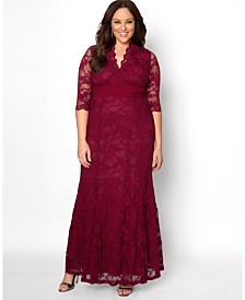 Kiyonna Women's Plus Size Screen Siren Lace Gown
