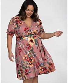 Kiyonna Women's Plus Size Tuscan Tie Wrap Dress