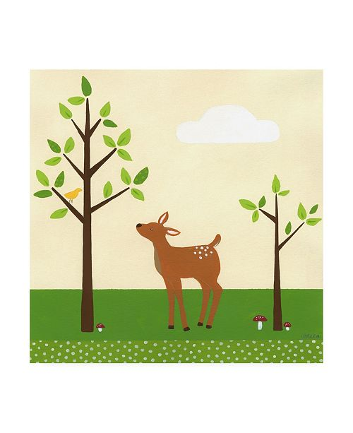 "Trademark Global June Erica Vess Woodland Friends Deer II Canvas Art - 15.5"" x 21"""