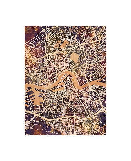 "Trademark Global Michael Tompsett Rotterdam Netherlands City Map II Canvas Art - 27"" x 33.5"""