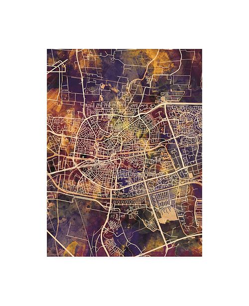 "Trademark Global Michael Tompsett Leeuwarden Netherlands City Map II Canvas Art - 15.5"" x 21"""