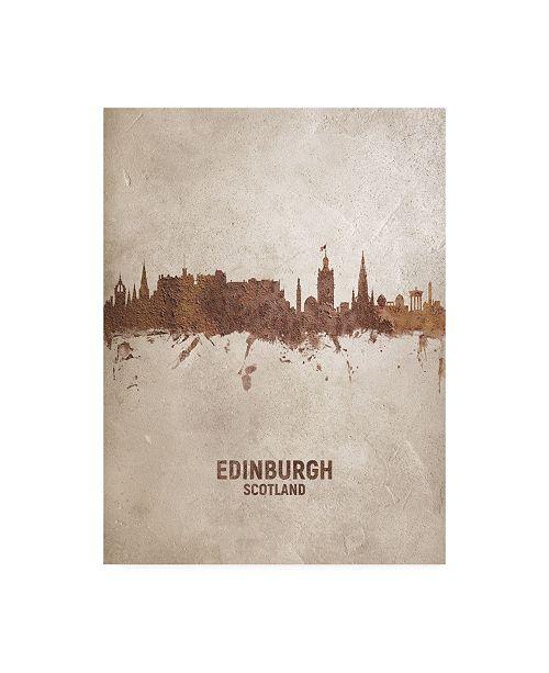"Trademark Global Michael Tompsett Edinburgh Scotland Rust Skyline Canvas Art - 15.5"" x 21"""