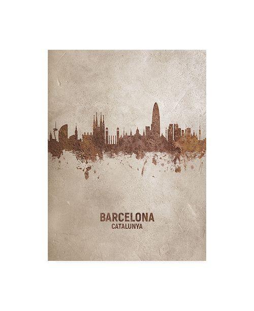 "Trademark Global Michael Tompsett Barcelona Spain Rust Skyline Canvas Art - 27"" x 33.5"""