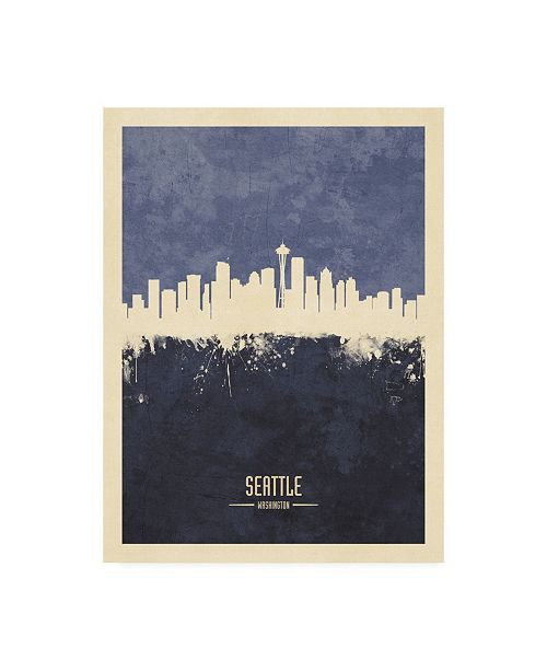 """Trademark Global Michael Tompsett Seattle Washington Skyline Navy Canvas Art - 27"""" x 33.5"""""""