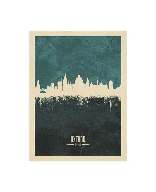 "Trademark Global Michael Tompsett Oxford England Skyline Teal Canvas Art - 15.5"" x 21"""