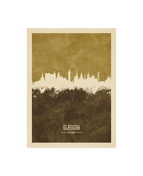 "Trademark Global Michael Tompsett Glasgow Scotland Skyline Brown Canvas Art - 15.5"" x 21"""