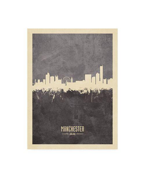 "Trademark Global Michael Tompsett Manchester England Skyline Gray Canvas Art - 15.5"" x 21"""