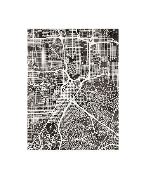 "Trademark Global Michael Tompsett Houston Texas City Street Map Black Canvas Art - 27"" x 33.5"""