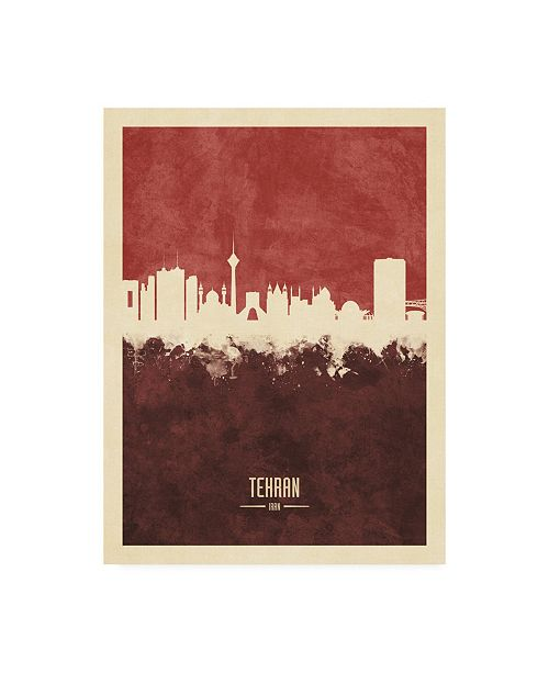 "Trademark Global Michael Tompsett Tehran Iran Skyline Red II Canvas Art - 27"" x 33.5"""