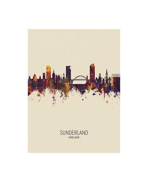 "Trademark Global Michael Tompsett Sunderland England Skyline Portrait III Canvas Art - 36.5"" x 48"""