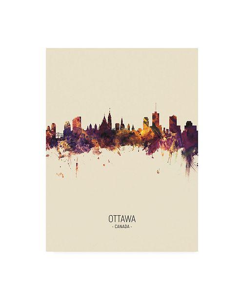 "Trademark Global Michael Tompsett Ottawa Canada Skyline Portrait III Canvas Art - 19.5"" x 26"""