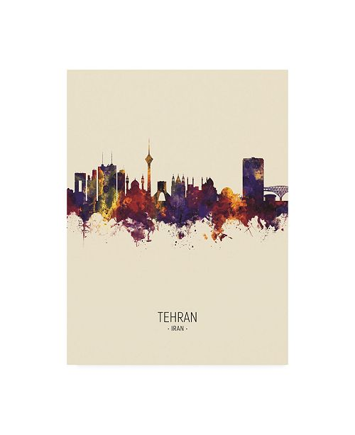 "Trademark Global Michael Tompsett Tehran Iran Skyline Portrait III Canvas Art - 36.5"" x 48"""
