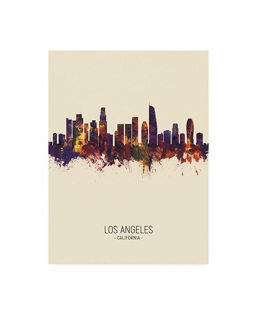 "Trademark Global Michael Tompsett Los Angeles California Skyline Portrait III Canvas Art - 36.5"" x 48"""