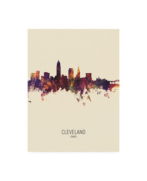 "Trademark Global Michael Tompsett Cleveland Ohio Skyline Portrait III Canvas Art - 36.5"" x 48"""
