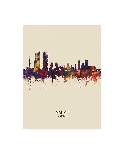 "Trademark Global Michael Tompsett Madrid Spain Skyline Portrait III Canvas Art - 19.5"" x 26"""