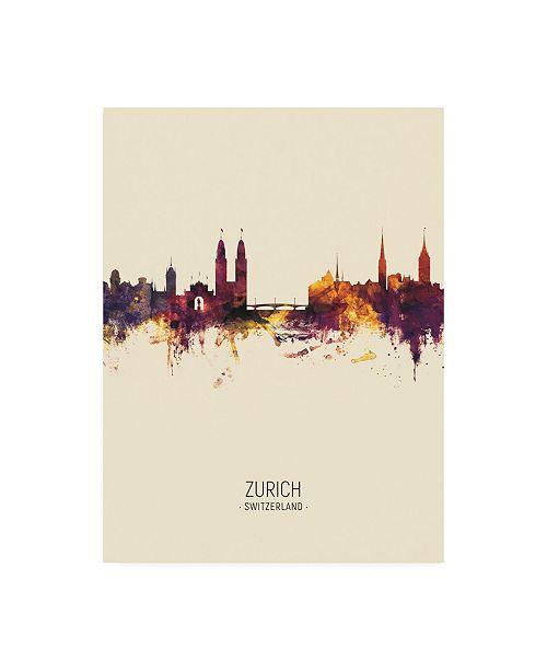"""Trademark Global Michael Tompsett Zurich Switzerland Skyline Portrait III Canvas Art - 36.5"""" x 48"""""""