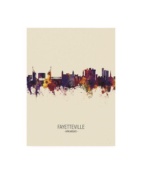 """Trademark Global Michael Tompsett Fayetteville Arkansas Skyline Portrait III Canvas Art - 36.5"""" x 48"""""""