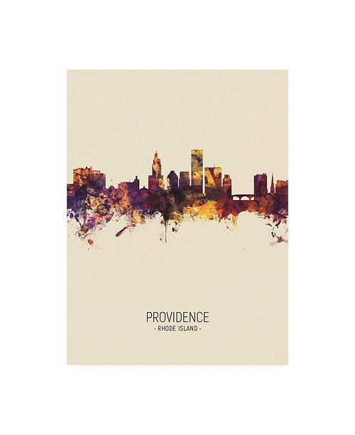 "Trademark Global Michael Tompsett Providence Rhode Island Skyline Portrait III Canvas Art - 15.5"" x 21"""