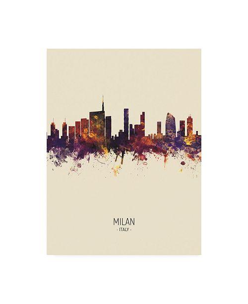 "Trademark Global Michael Tompsett Milan Italy Skyline Portrait III Canvas Art - 19.5"" x 26"""