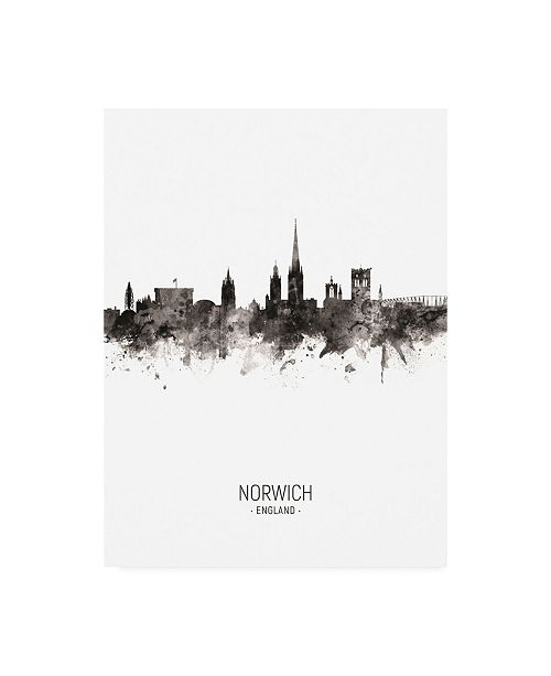 "Trademark Global Michael Tompsett Norwich England Skyline Portrait II Canvas Art - 15.5"" x 21"""