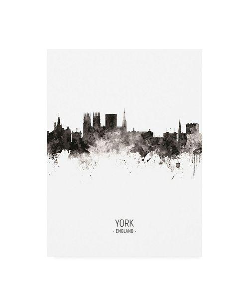 "Trademark Global Michael Tompsett York England Skyline Portrait II Canvas Art - 15.5"" x 21"""