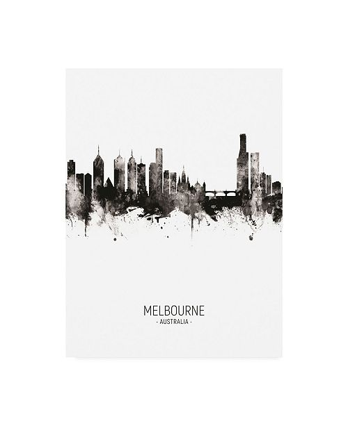 "Trademark Global Michael Tompsett Melbourne Australia Skyline Portrait II Canvas Art - 19.5"" x 26"""