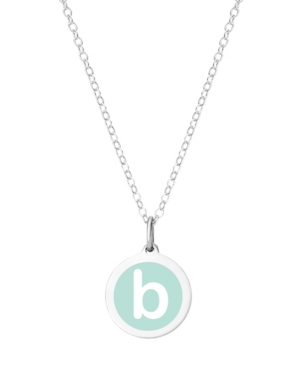 Mini Initial Pendant Necklace in Sterling Silver and Mint Enamel