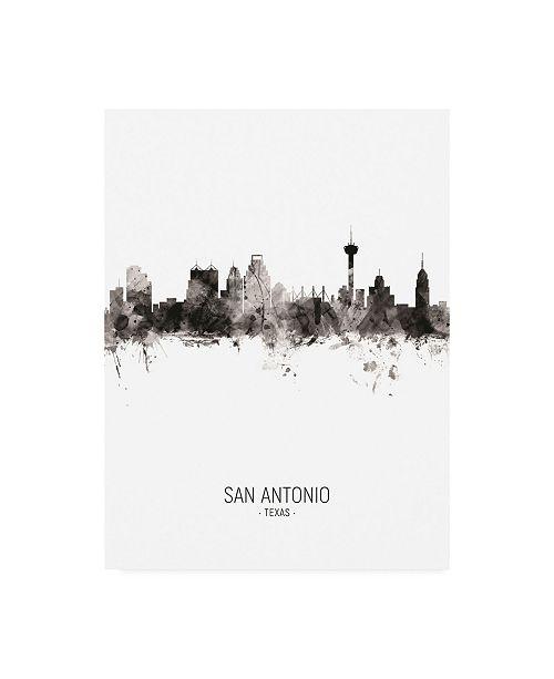 "Trademark Global Michael Tompsett San Antonio Texas Skyline Portrait II Canvas Art - 15.5"" x 21"""