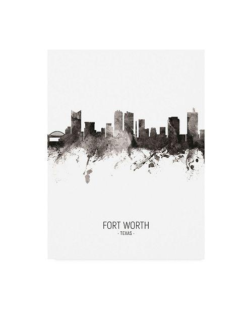 "Trademark Global Michael Tompsett Fort Worth Texas Skyline Portrait II Canvas Art - 19.5"" x 26"""